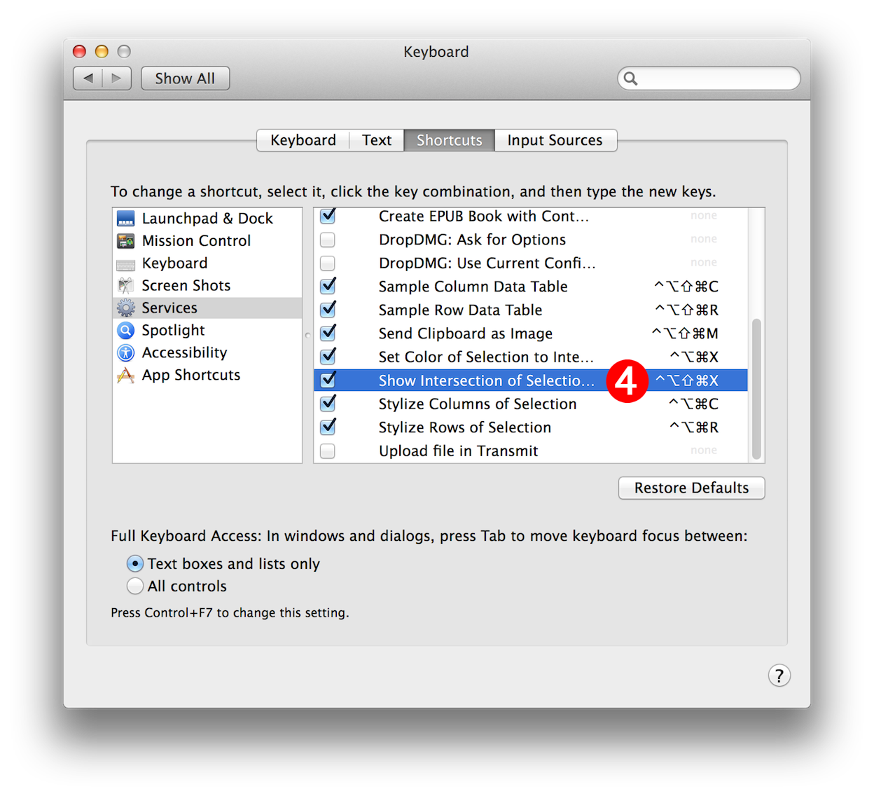 Automator Services and Numbers